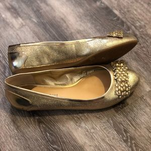 Gianni Bini Bow and Glitter Flats Gold 7.5